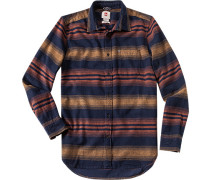 Herren Flanellhemd Modern Fit navy-gelb-orange gestreift blau