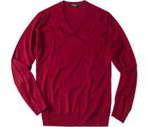 Herren Pullover Seiden-Kaschmir-Mix bordeaux rot