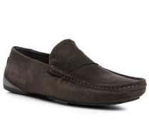 Herren Schuhe Slipper Veloursleder dunkelbraun braun,schwarz