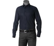 Herren Hemd Strukturgewebe schwarz gemustert