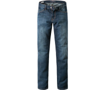 Herren Jeans Straight Fit Baumwoll-Mix denim blau