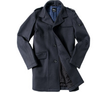 Mantel Schurwolle wattiert nachtblau