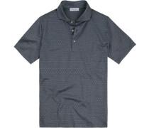 Polo-Shirt Polo, Baumwoll-Jersey, rauchblau gepunktet