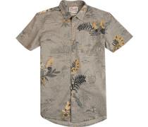 Hemd Modern Fit Popeline greige-maisgelb floral