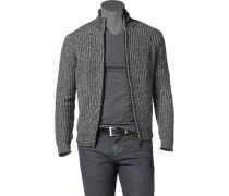 Herren Zip-Cardigan Baumwoll-Mix schwarz meliert grau