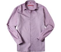 Herren Hemd Classic Fit Strukturgewebe fuchsia-weiß gemustert rosa