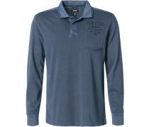 Herren Polo-Shirt Polo Baumwolle navy blau