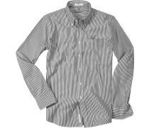 Hemd Oxford weiß-grau gestreift