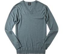 Pullover Baumwolle-Kaschmir hellgrün meliert
