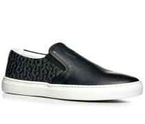 Herren Schuhe Slip Ons Leder-Mix schwarz gemustert schwarz,weiß