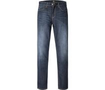 Jeans Regular Tapered Fit Baumwoll-Stretch dunkelblau