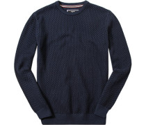 Herren Pullover Pulli Baumwolle marine gemustert blau