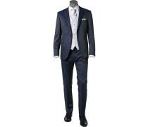 Anzug mit Weste, Plastron, Einstecktuch, Slim Fit, Schurwolle, dunkelblau meliert