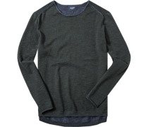 Pullover Baumwolle dunkelgrün-jeansblau meliert