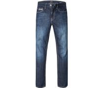 Blue-Jeans Regular Comfort Fit Baumwolle dunkelblau