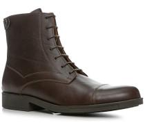 Schuhe Schnürstiefeletten Glattleder dunkelbraun