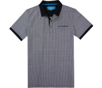 Polo-Shirt Polo Slim Fit Baumwoll-Pique navy gemustert