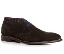 Schuhe Schnürstiefelette Veloursleder dunkelbraun