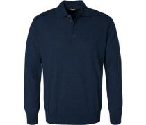 Herren Pullover Seiden-Kaschmir-Mix marineblau