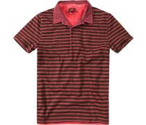Polo-Shirtr Baumwolle dunkelrot gestreift