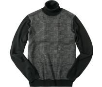 Herren Pullover Woll-Mix schwarz-grau gemustert