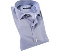 Hemd Hem Slim Fit Baumwolle marineblau-weiß gemustert