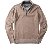 Pullover Troyer Wolle-Baumwoll-Mix Cappuccino meliert