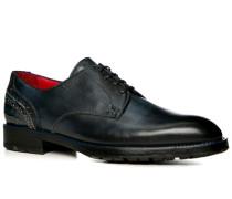 Schuhe Derby, Leder gebrusht, azzurro