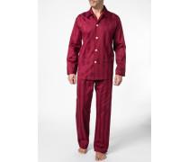 Schlafanzug Pyjama Baumwolle bordeaux gestreift