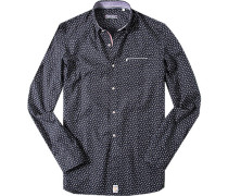 Hemd Modern Fit Popeline nachtblau gemustert