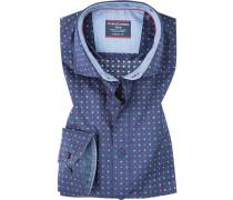 Hemd, Comfort Fit, Popeline, marineblau-rot gepunktet