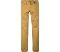 Herren Jeans Straight Fit Baumwoll-Stretch gelb