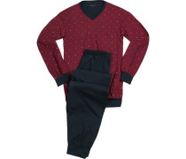 Schlafanzug Pyjama, Baumwolle, rot-navy gemustert