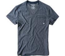 Herren T-Shirt Slim Fit Baumwolle marineblau gestreift