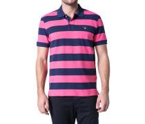 Herren Polo-Shirt Polo Baumwoll-Piqué marine-pink gestreift blau