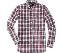 Herren Hemd Slim Fit Baumwolle rot-weiß gemustert