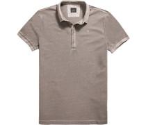 Polo-Shirt Polo Baumwoll-Piqué taupe meliert