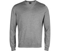 Pullover, Modern Fit, Merinowolle, silbergrau