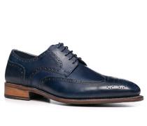 Schuhe Budapester Leder marineblau