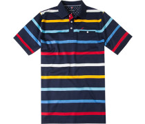 Polo-Shirt Polo Baumwoll-Jersey nachtblau gestreift
