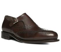 Herren Schuhe Monkstrap Leder glatt dunkelbraun braun,braun