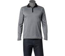 Herren Zip-Polo-Shirt Baumwoll-Jersey schwarz-grau gemustert