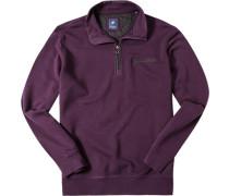 Herren Pullover Troyer Baumwolle violett