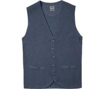 Pullover Strickweste Baumwolle-Wolle blau meliert