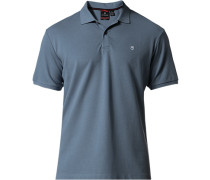 Polo-Shirt Polo Tailored Fit Baumwoll-Piqué taubenblau
