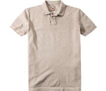 Polo-Shirt Polo Baumwoll-Piqué greige meliert