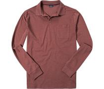 Herren Polo-Shirt Polo Baumwoll-Jersey dunkelrot meliert