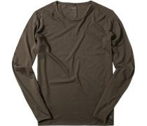 Herren T-Shirt Longsleeve Baumwolle anthrazit grau