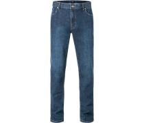 Blue-Jeans Seth Tailored Fit Baumwoll-Stretch dunkelblau