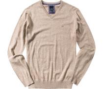 Herren Pullover Baumwolle beige meliert
